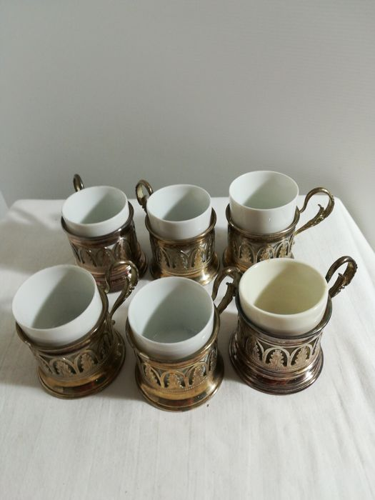 6 coffee cups (6) - .1000 silver - Italy - 1950-1999