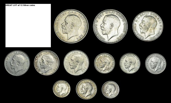 United Kingdom - 3 Pence up to and including ½ Crown 1918/1934 George V (12 pieces)  - Silver