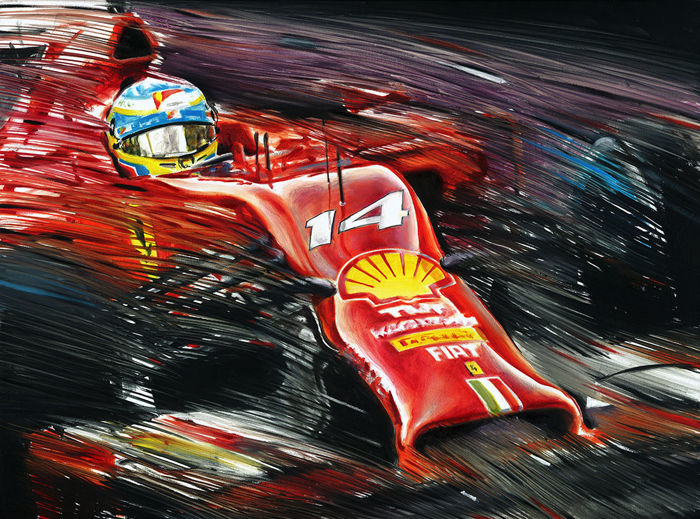 HAND-SIGNED by Artist Art Prints - Fernando Alonso Ferrari F14T F1 Grand Prix - 2019 (2 items)
