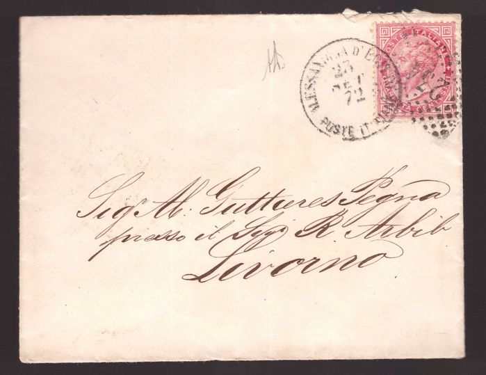 Italy Kingdom 1863 - 40 cents Turin issue cancelled in Alexandria, Egypt, in 1872 - Sassone N. T20