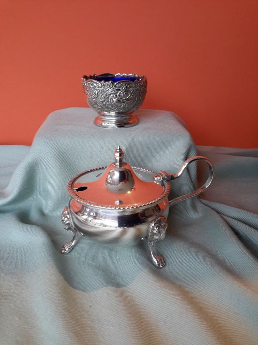 mustard keg and salt dish (2) - silver62 / silvered - Arthur Price - Birmingham - 1900-1949