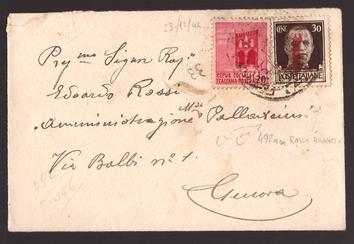 Italy 1944 - Envelope with 30 c. Imperial overprint orange red - Sassone N. 492E, 496