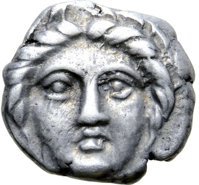 Greece (ancient) - Kingdom of Thrace, Apollonia Pontika. Diobol,  late 4th Century BC. Upturned anchor - Silver