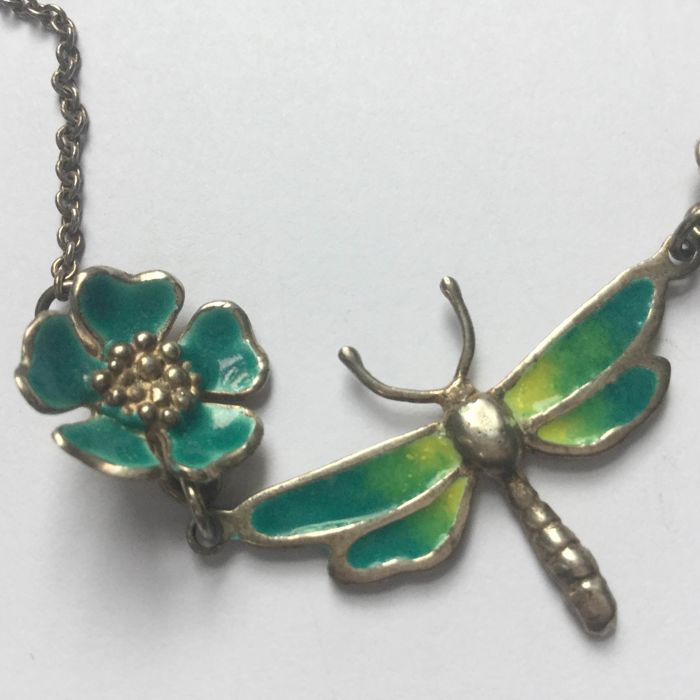 925 Silver - Necklace with pendant Enamal