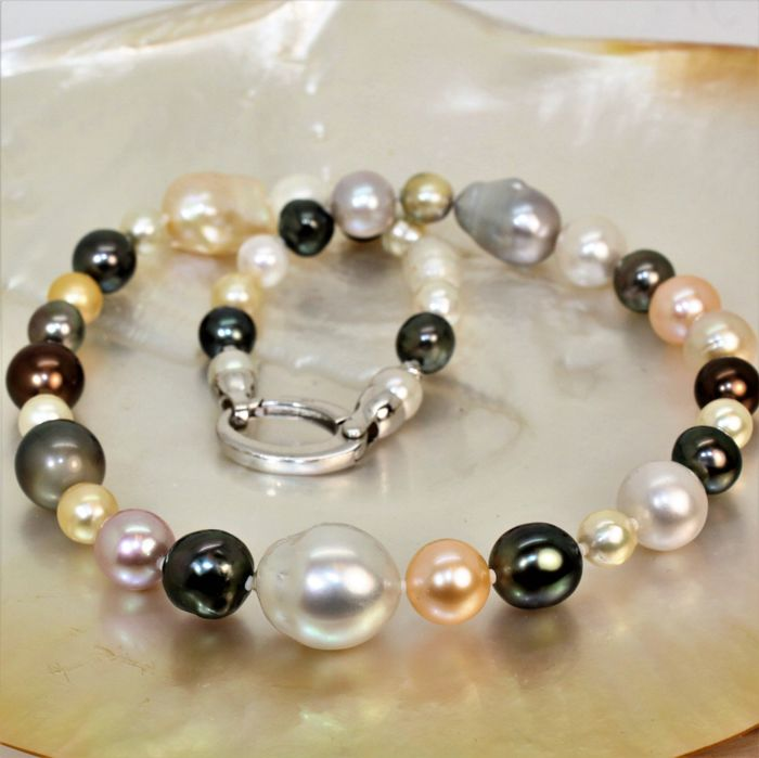 925 Brown south sea pearls, Freshwater pearls, Golden south sea pearls, Multicolor Tahitian pearls, Saltwater pearls, Silver, South sea pearls, Tahiti pearls - Necklace