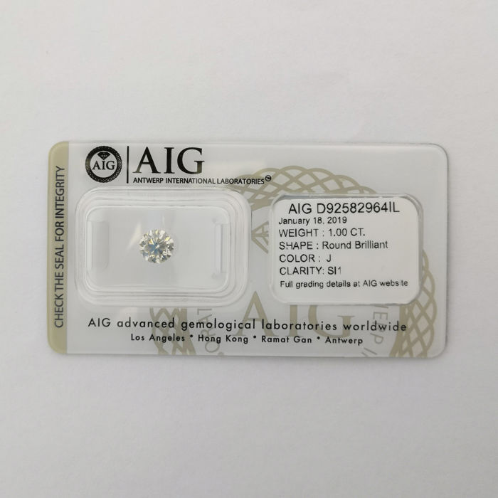 1 pcs Diamond - 1.00 ct - Brilliant, Round - J - SI1