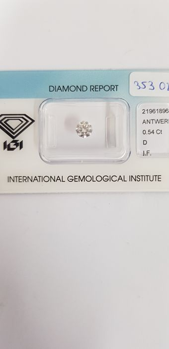 1 pcs Diamant - 0.54 ct - Briljant - D (kleurloos) - IF (intern zuiver)