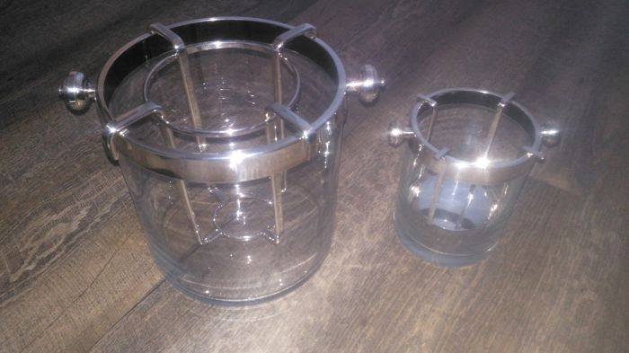 Bucket and bucket in ice Fleurie de France - Silverplate - Christofle - France