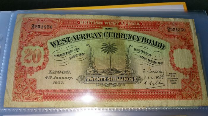 British West Africa - 20 Shillings 1937 - Pick 8b