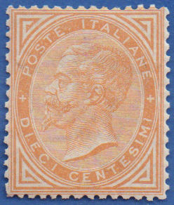 Italy Kingdom 1866 - 10 cents ochre yellow, issue of Turin - Sassone N. T17
