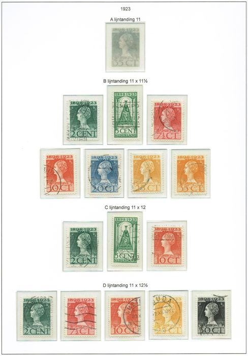 Países Bajos 1923 - Government Jubilee Wilhelmina, perforations - NVPH 121/131