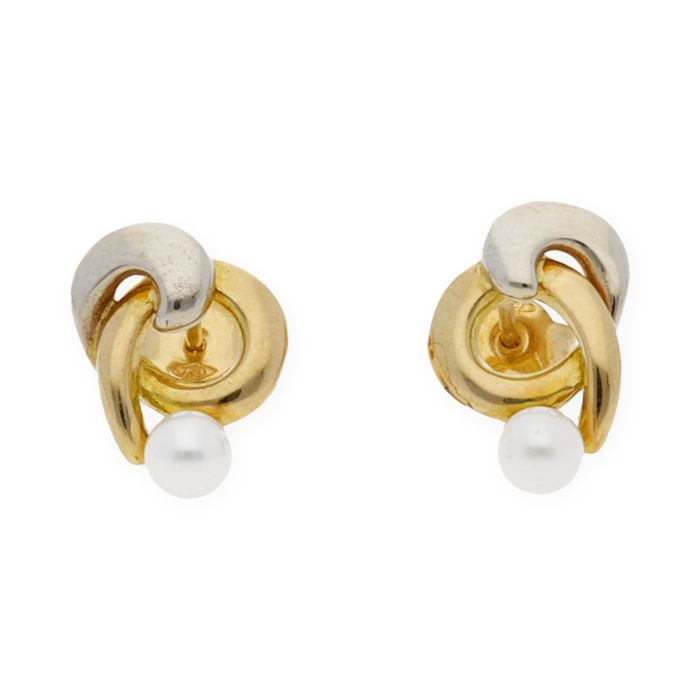 18 kt. Akoya pearls, White gold, Yellow gold, 4.30 mm - Earrings