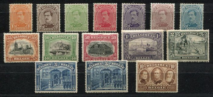 België 1915 - Series with 5F Veurne - FRANCS with 'white negro' - OBP / COB 135/49, 146b (inclusief)