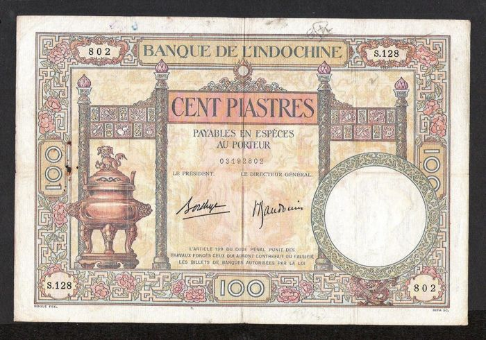 French Indo-China - 100 piastres ND (1936-39) - Pick 51d