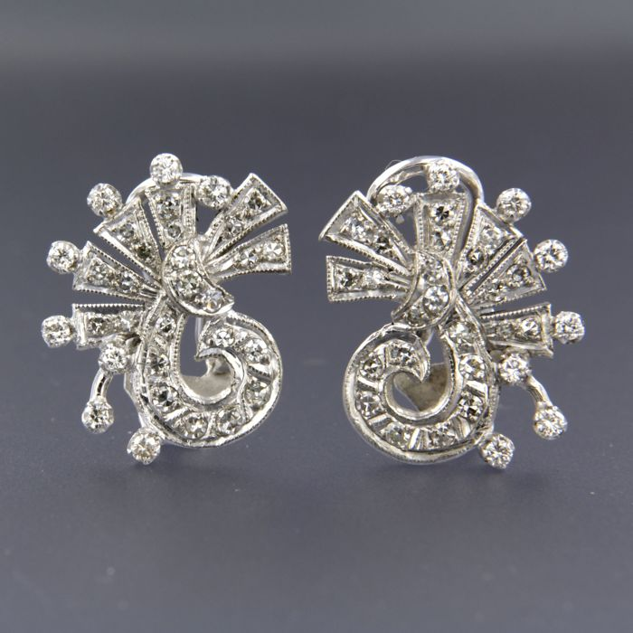 14 quilates Oro blanco - Pendientes - 1.40 ct Diamante