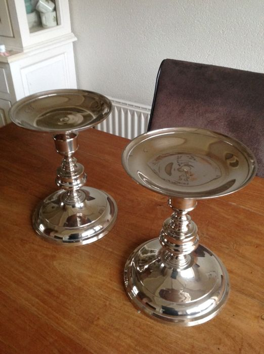large silver-plated candlesticks (2) - Silverplate - Netherlands