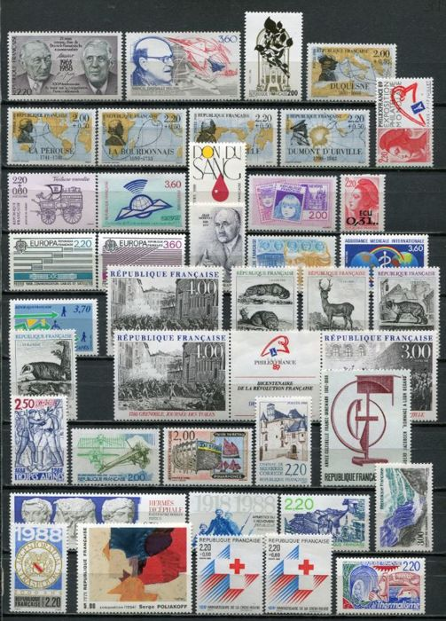 France 1988/2001 - Assortment of stamps between No. 2501 and 2975 and other items