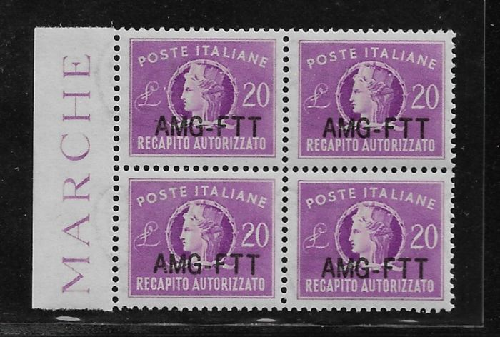 Triest - Zone A 1954 - Authorised delivery new type of overprint in wonderful block of four - Sassone N.5A