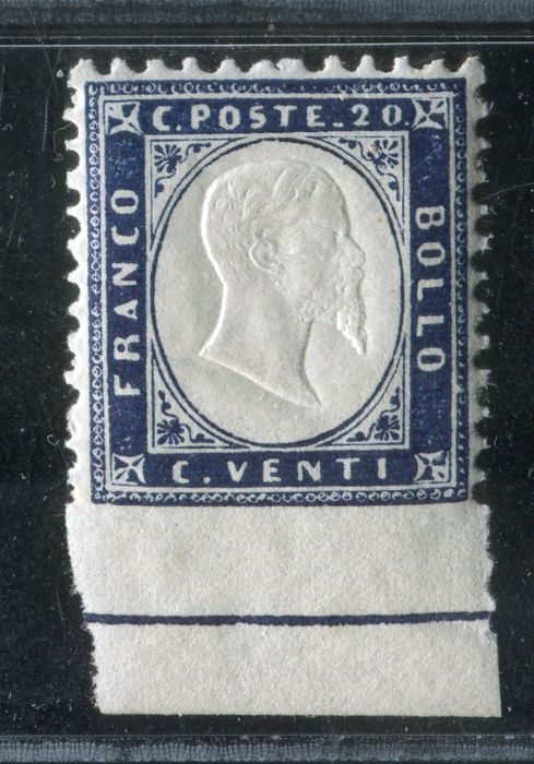 Italy Kingdom 1862 - Stamp with full bottom sheet border and colour line - Sassone 2l