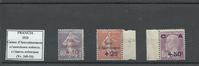 France - Caisse d'Amortissement 1928 and 1929 - Yvert 249-51 y 253-55