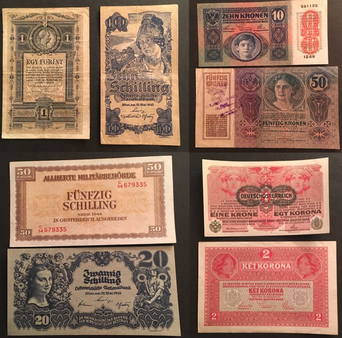 Austria - Nice collection of 8 banknotes - 1888/1945