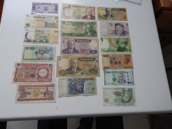 World - Africa and Middle East - 85 Banknotes - various dates