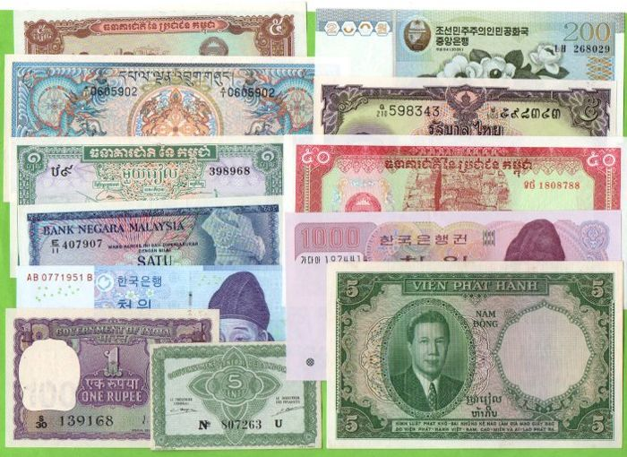 World - Asia - 50 Banknotes - - all different