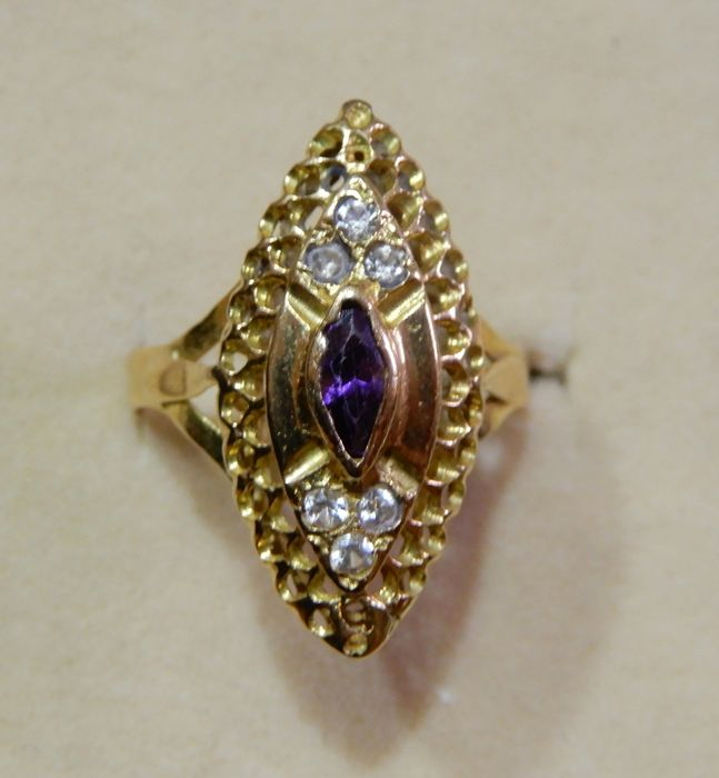 18 kt Gelbgold - Ring Amethyst - Saphire