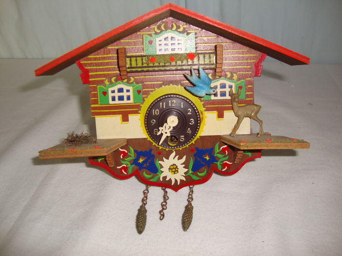 Very Unique Small Cuckoo Clock  - Wood and Iron