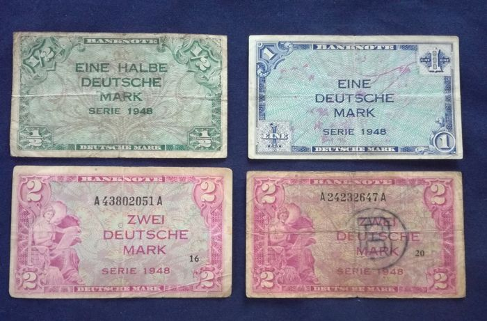 Germany - 1⁄2, 1, 2 and 2 Mark 1948 - Pick  1a, 2a, 3a and 3b