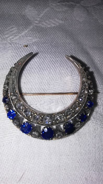 Crescent pendant / brooch with diamonds and sapphires
