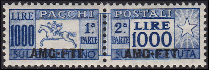 Trieste AMG-FTT 1954 - Little horse, 1,000 L. ultramarine, linear perforation 13 1/4 - Sassone N. 26/I
