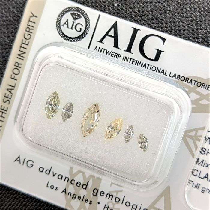 6 pcs 鑽石 - 0.79 ct - 欖尖形 - Fancy Mix Light Color - No Reserve Price, VS2, VVS1