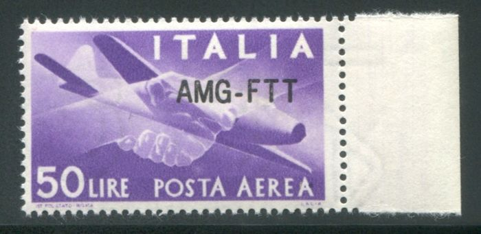 Triest - Zone A 1954 - AMG-FTT, 50 lire airmail new overprint - Sassone N. PA22A