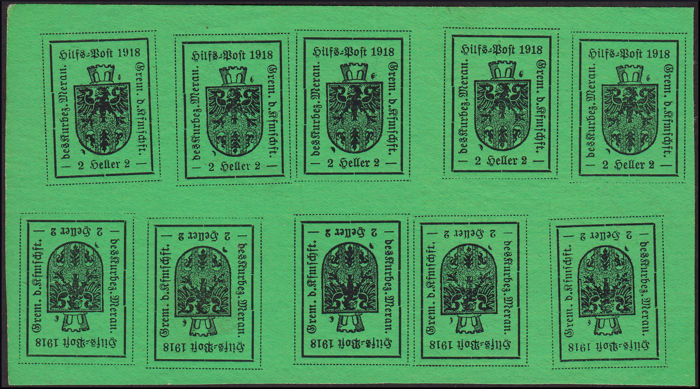 Merano 1918 - Mini-sheets of 10 stamps, 2h green yellow + 10h orange - Sassone N. 10A, 12A