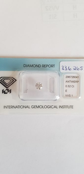 1 pcs Diamante - 0.52 ct - Brillante - E - VVS1