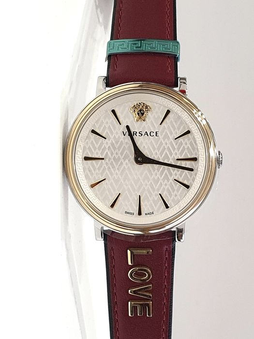 """Versace - """" NO RESERVE PRICE """" - VBP020017 V Circle Love - Swiss Made - Dual Strap Red - Nuovo - Garanzia - Heren - 2011-heden"""