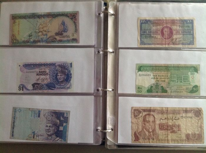 World - Collection of 233 different banknotes from all over the world A to Z in album