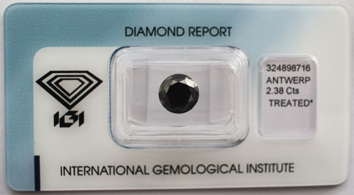1 pcs Diamant - 2.38 ct - Brilliant - Färgbehandlad - P