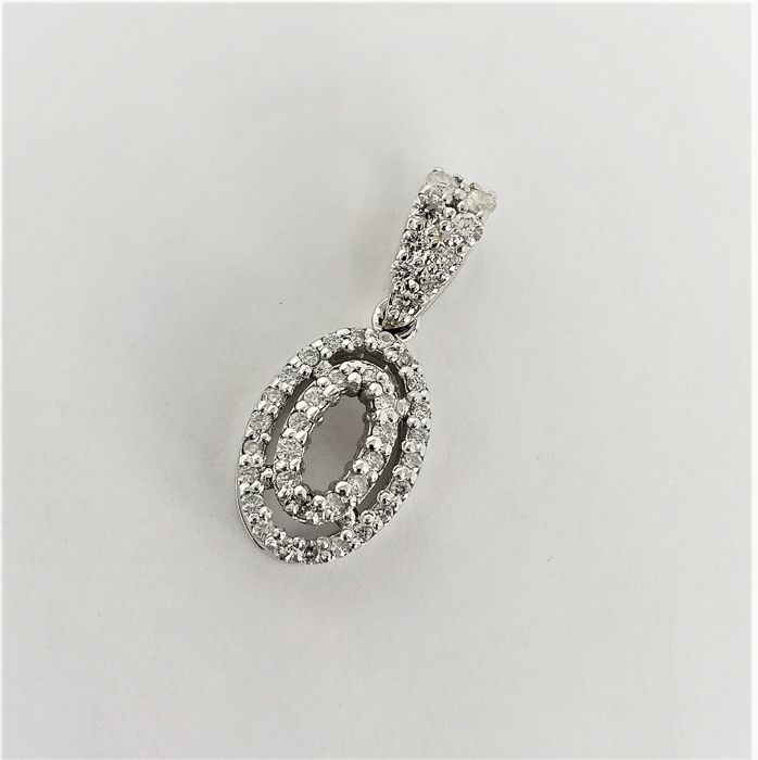 18 quilates Oro blanco - Colgante - 0.12 ct Diamante