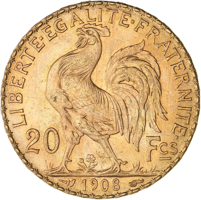 France - 20 Francs 1908 Marianne - Or