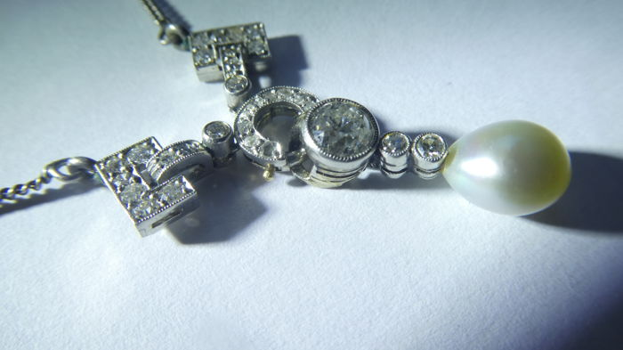 14 kt. White gold - Necklace with pendant Diamond - Pearl