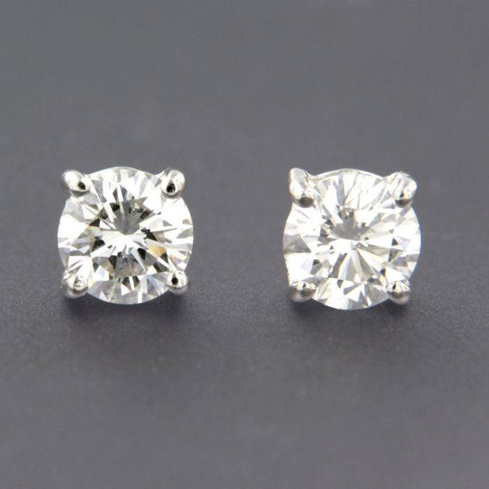18 carats Or blanc - Boucles d'oreilles - 1.00 ct Diamant