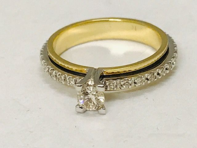 18 quilates Oro - Anillo - 0.20 ct Diamante - Diamante