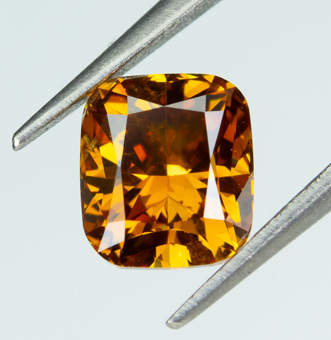 Diamant - 0.75 ct - Natural Fancy DEEP Orange - SI1 *NO RESERVE*