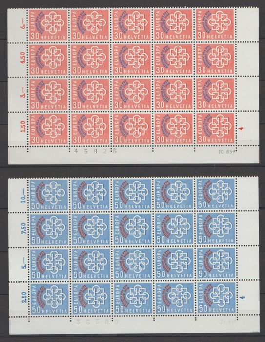 Switzerland 1959 - Europa stamps, Reunion of the Postal Services in sheet of 20 - Michel 679/680