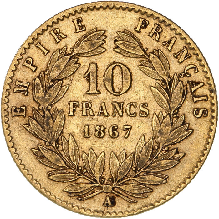 France - 10 Francs 1867-A Napoléon III - Or