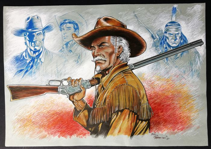 "Tex - G. Romanini - illustrazione orig. ""Kit Carson con Winchester"" - First edition - (2017)"