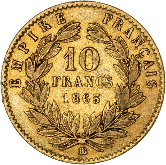France - 10 Francs 1863-BB Napoléon III - Or