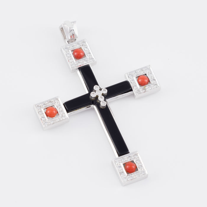 18 kt. White gold - Pendant Diamonds, Corals and Onyx
